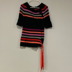 Black Shirt with Colored Stripes